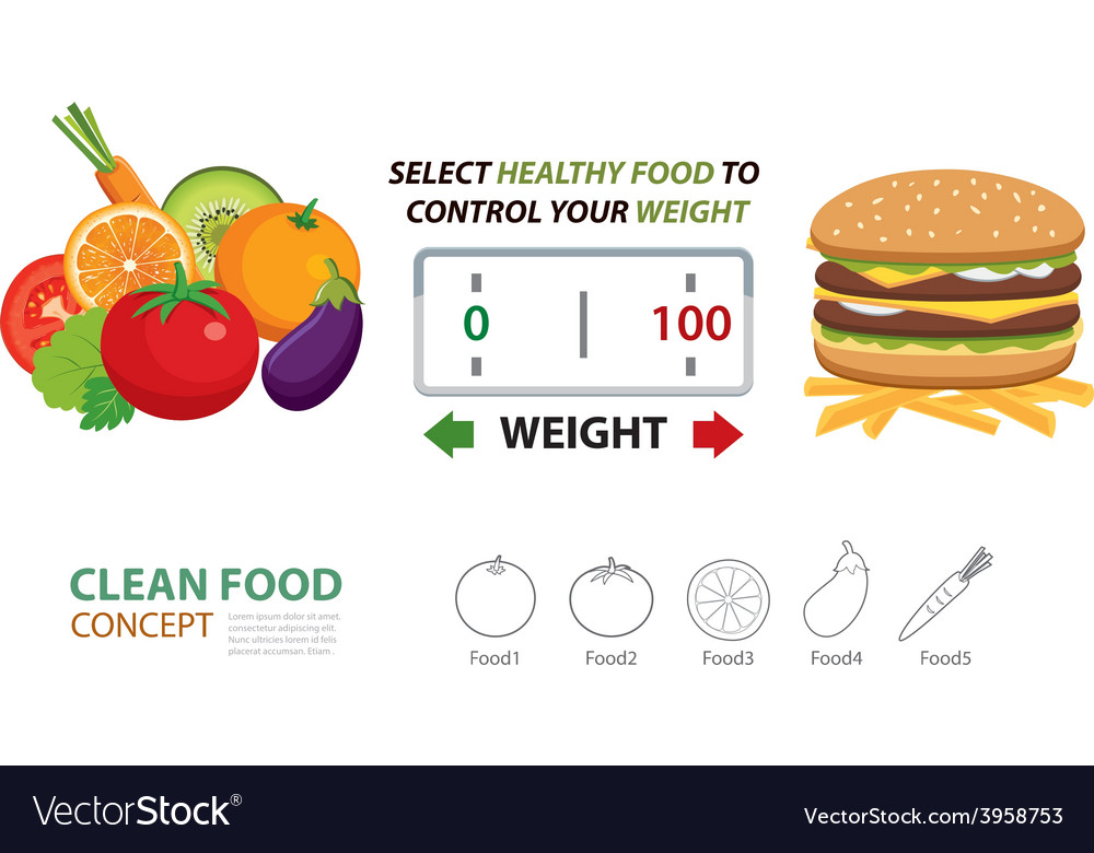 Select healthy food to control your weight vector | Price: 1 Credit (USD $1)