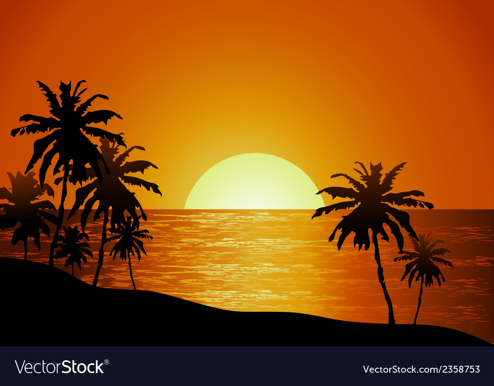 Sunset view in beach with palm tree vector | Price: 1 Credit (USD $1)