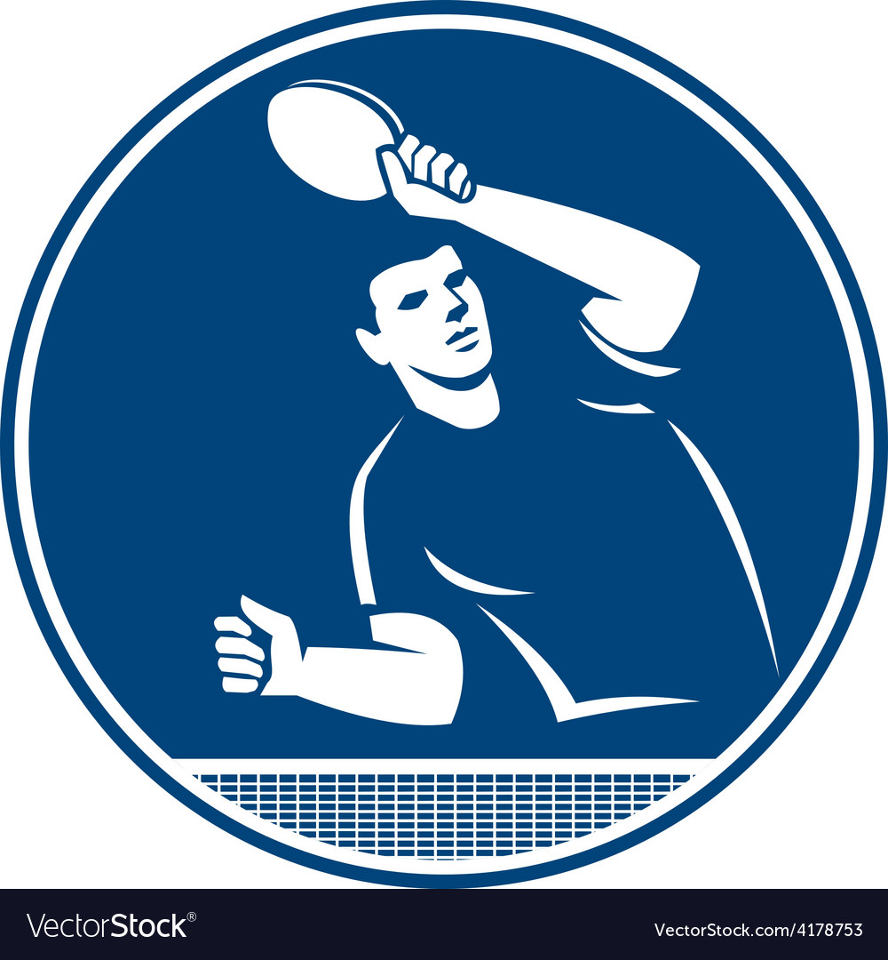 Table tennis player serving circle icon vector | Price: 1 Credit (USD $1)