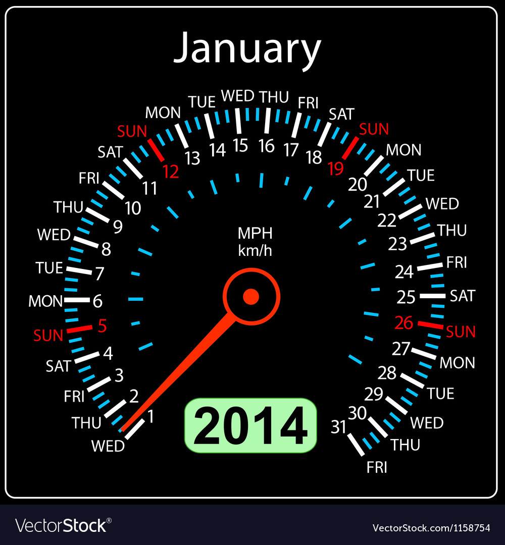 2014 year calendar speedometer car in january vector | Price: 1 Credit (USD $1)