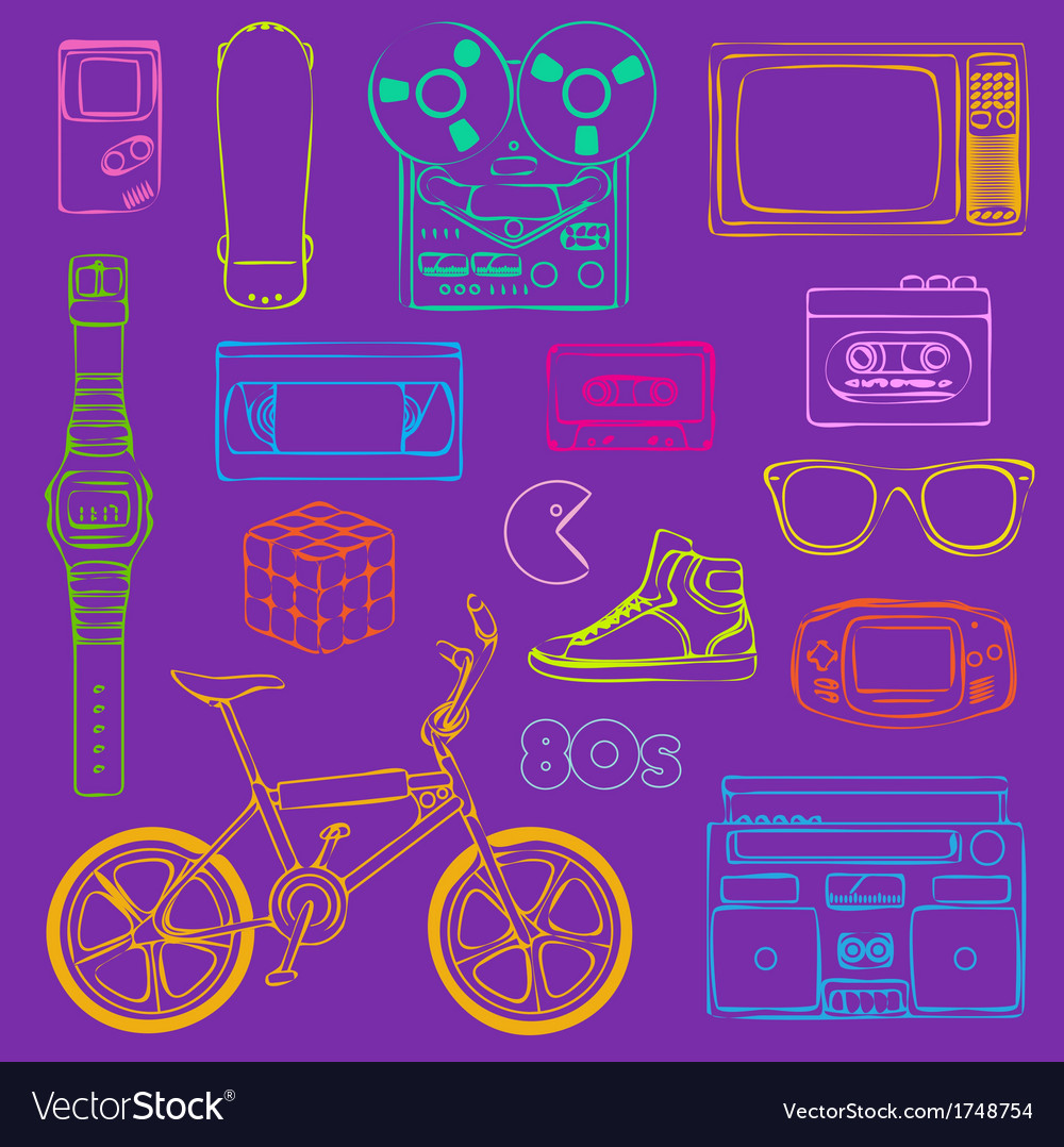 80s retro outline vector | Price: 1 Credit (USD $1)