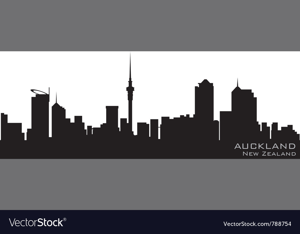 Auckland new zealand skyline detailed silhouette vector | Price: 1 Credit (USD $1)