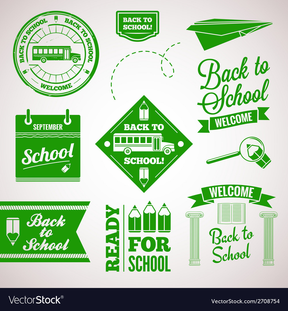 Back to school icon set labels design vector | Price: 1 Credit (USD $1)