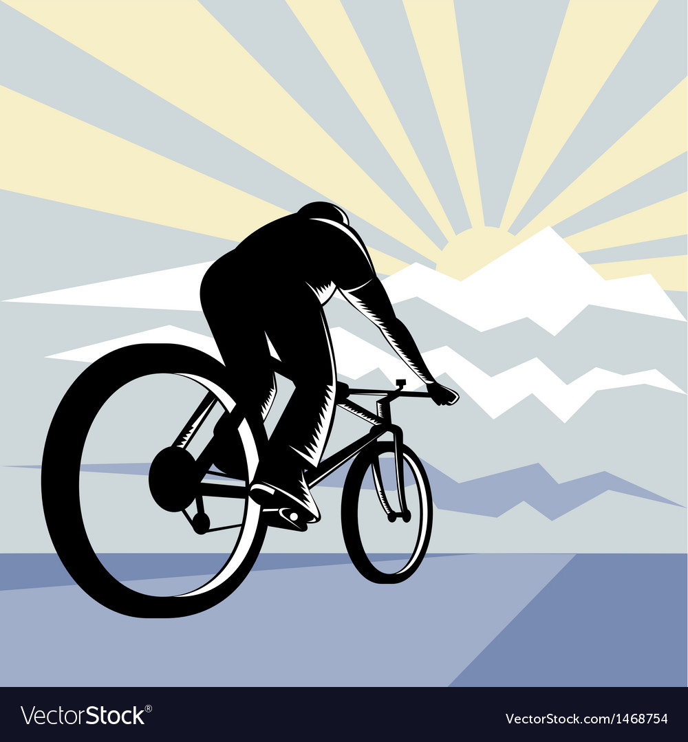 Cyclist riding bicycle with mountain vector | Price: 1 Credit (USD $1)