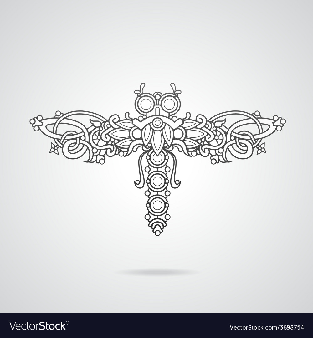 Dragonfly ornament vector | Price: 1 Credit (USD $1)