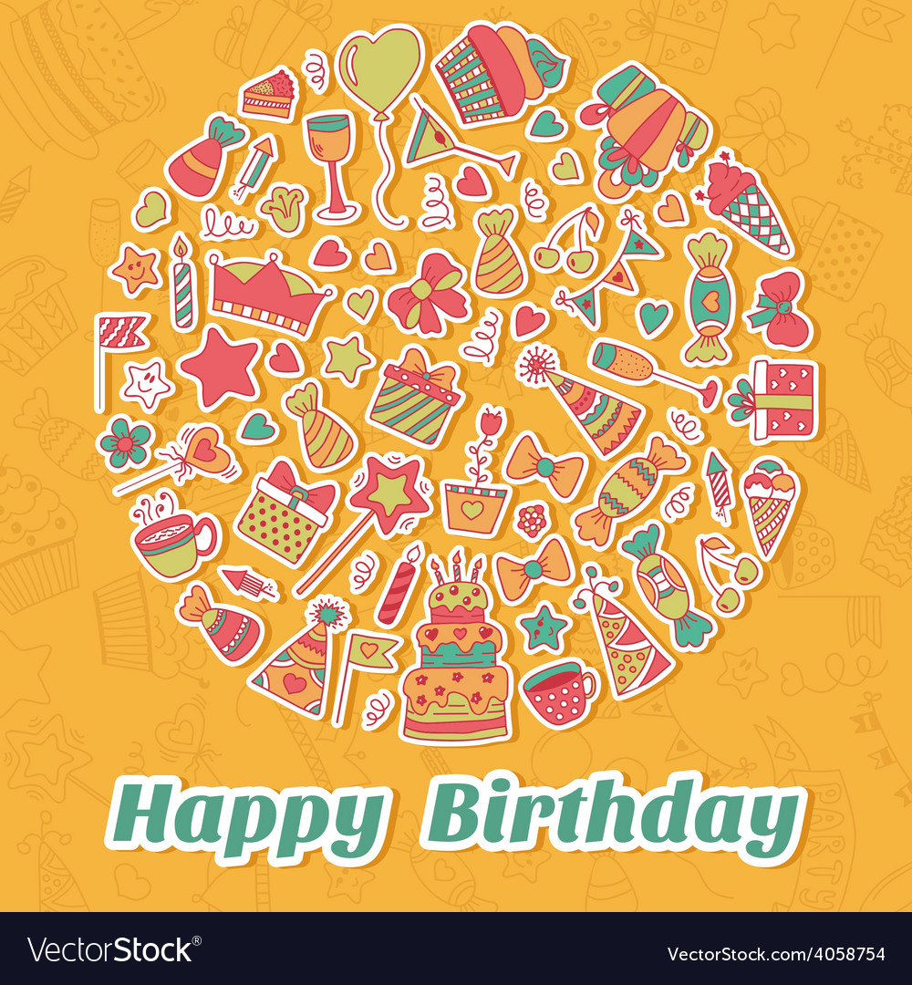 Happy birthday card birthday party background vector | Price: 1 Credit (USD $1)