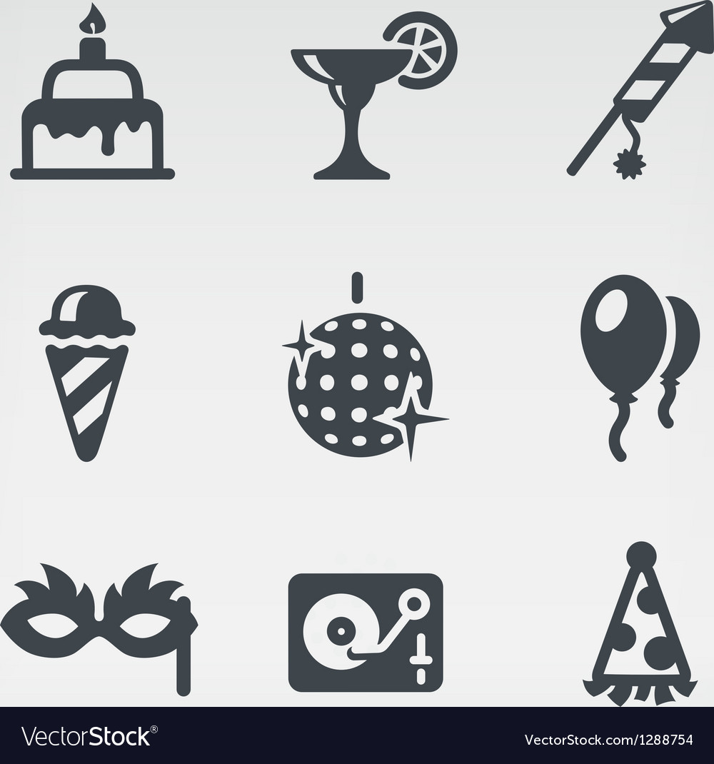 Party icon set vector | Price: 1 Credit (USD $1)