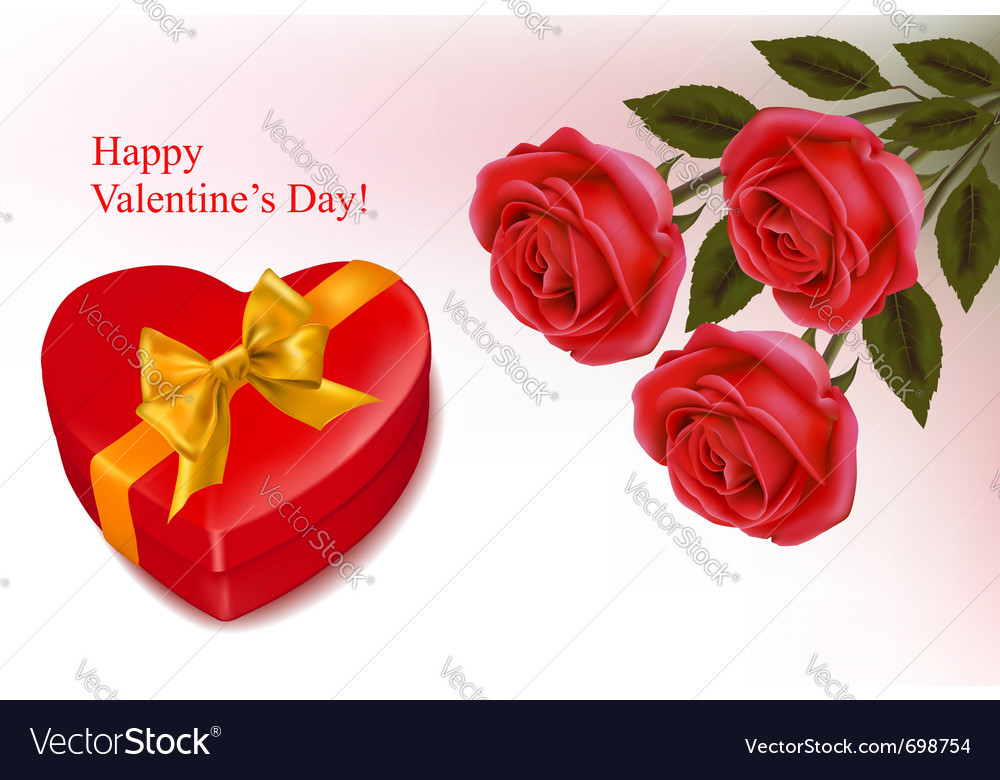 Red roses and a box vector | Price: 1 Credit (USD $1)