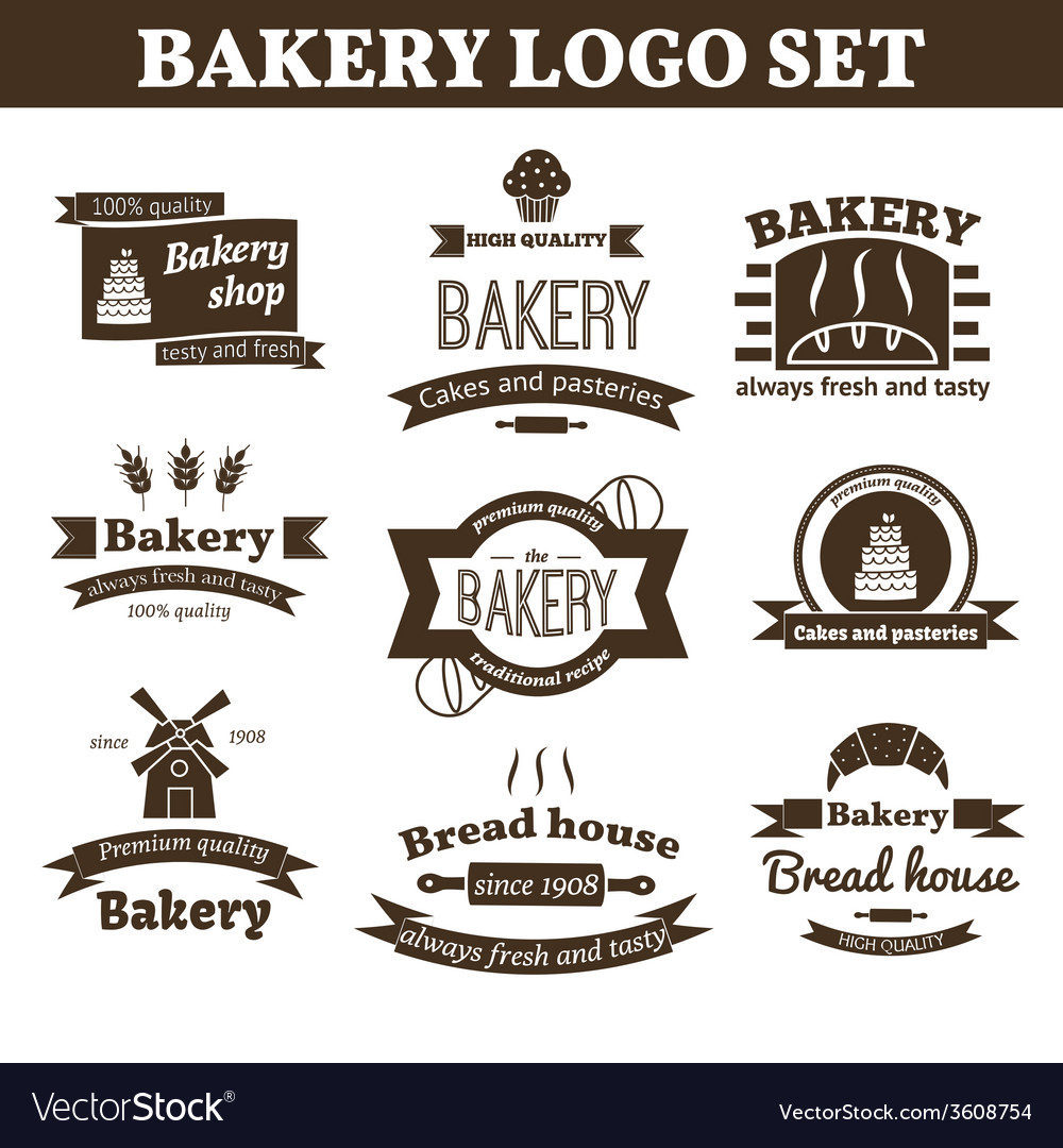 Set of bakery logo vector | Price: 1 Credit (USD $1)