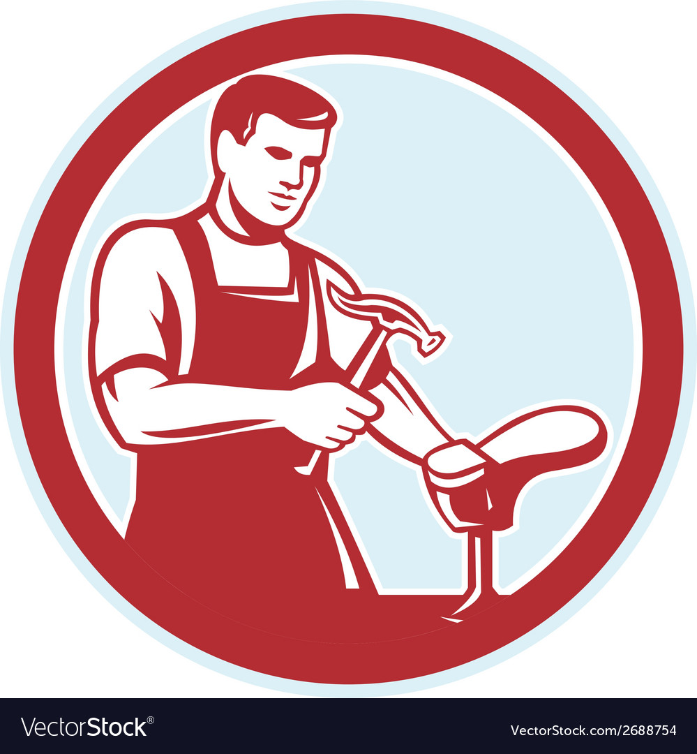 Shoemaker with hammer shoe circle retro vector | Price: 1 Credit (USD $1)