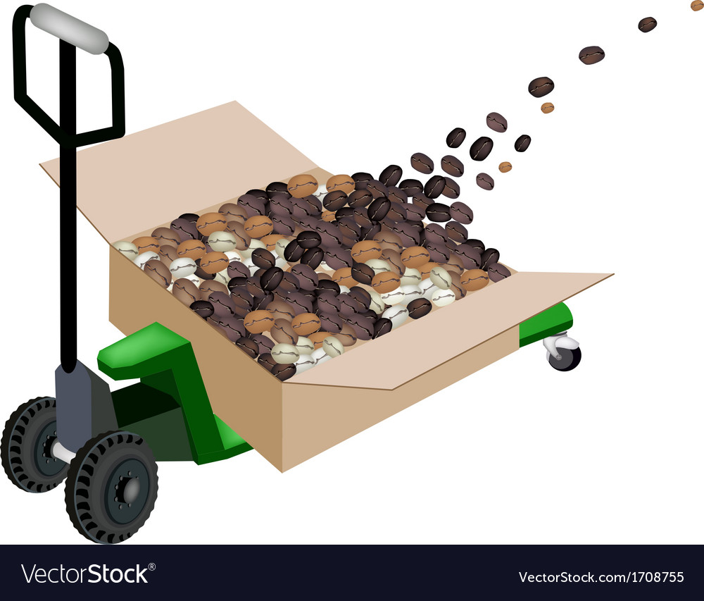 A pallet truck loading coffee beans vector | Price: 1 Credit (USD $1)