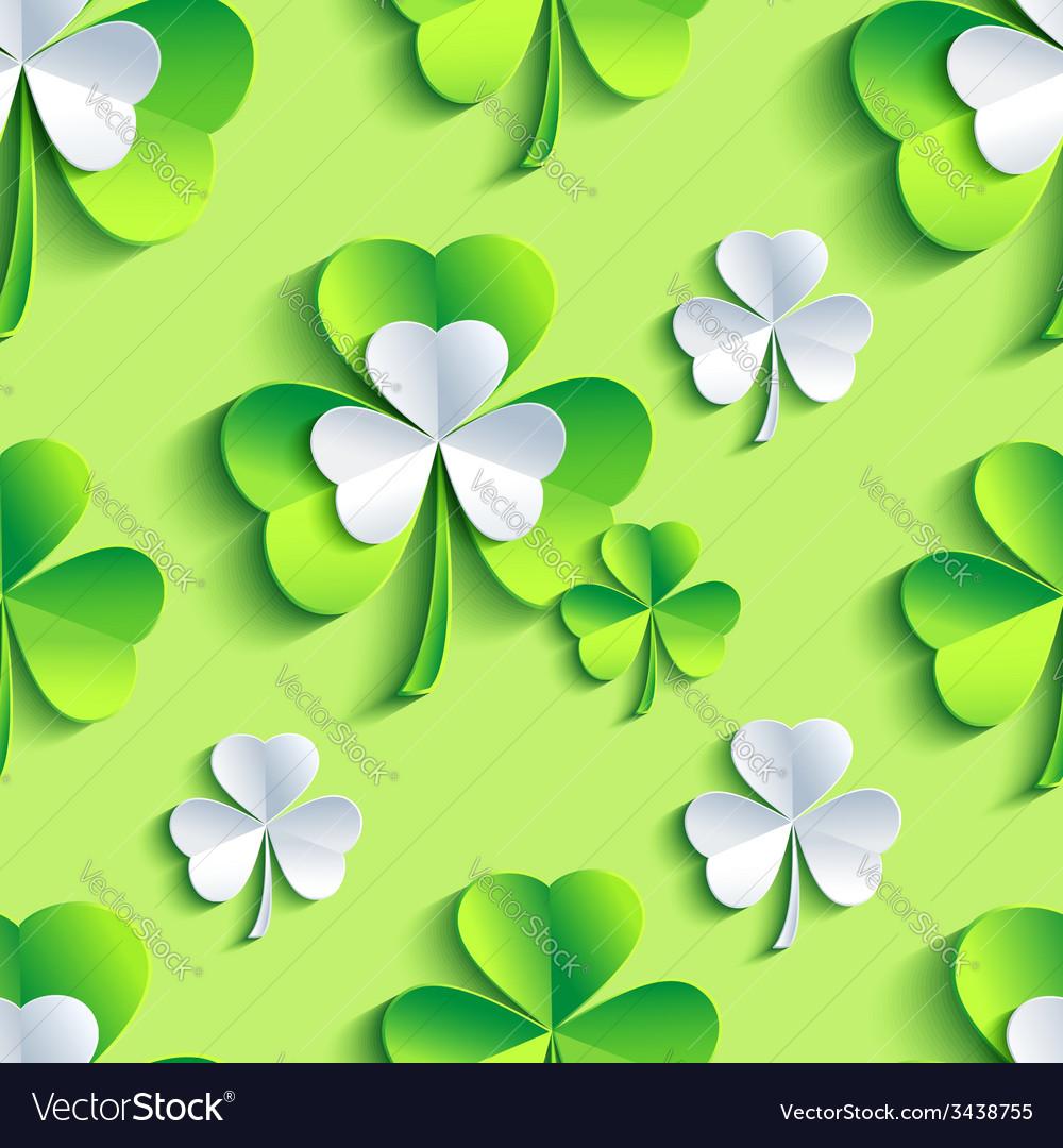 Background seamless pattern 3d patrick leaf clover vector