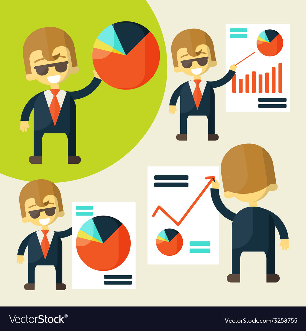 Cheerful businessman in various poses chart shows vector | Price: 1 Credit (USD $1)