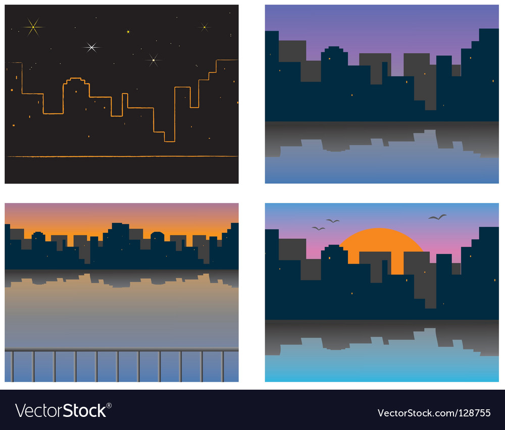 City on the river bank vector | Price: 1 Credit (USD $1)