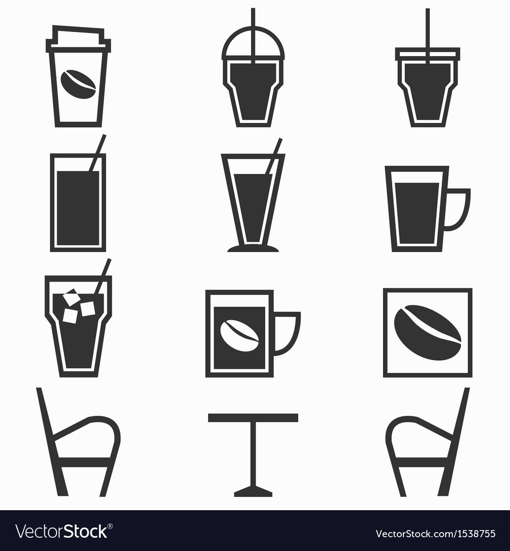 Coffee drinks icons in coffee shop on white vector | Price: 1 Credit (USD $1)
