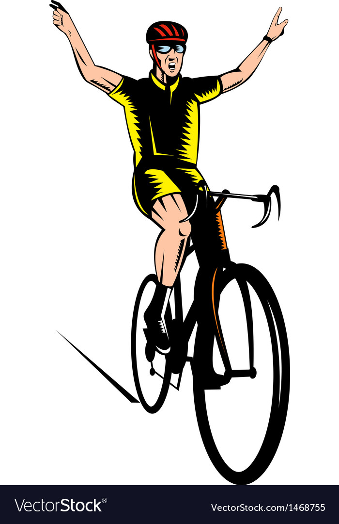 Cyclist riding bicycle flashing victory sign vector | Price: 1 Credit (USD $1)