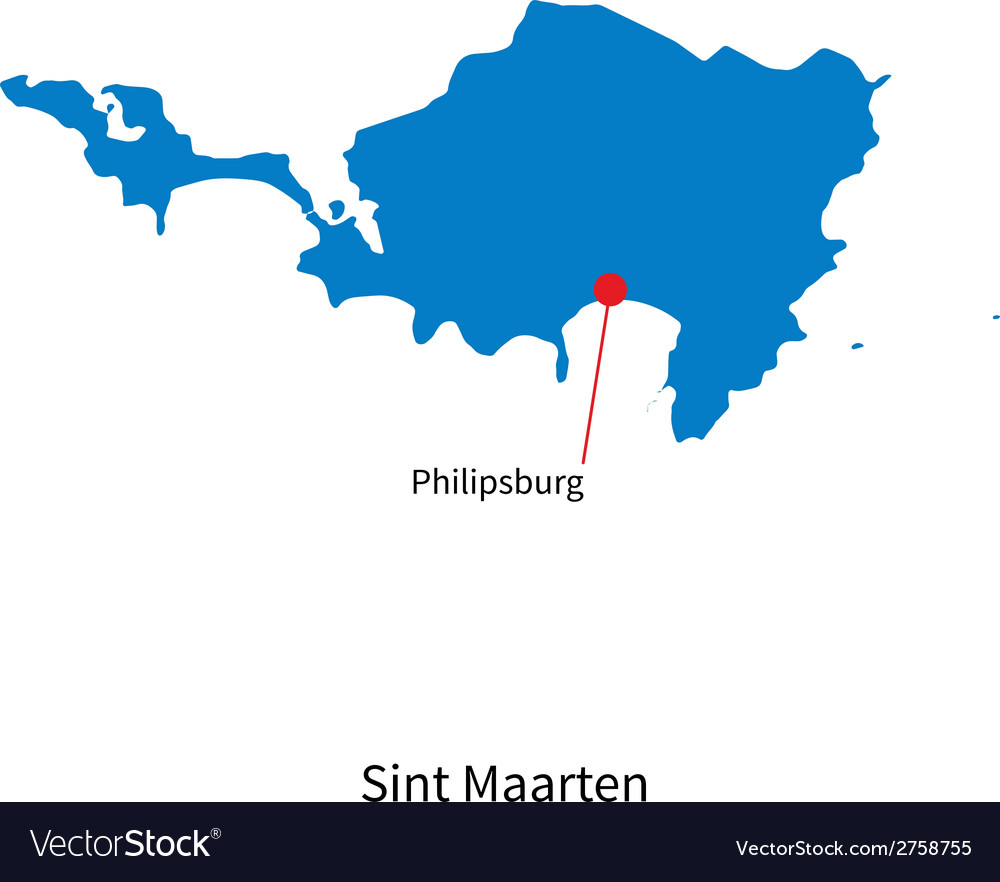 Detailed map of sint maarten and capital city vector | Price: 1 Credit (USD $1)
