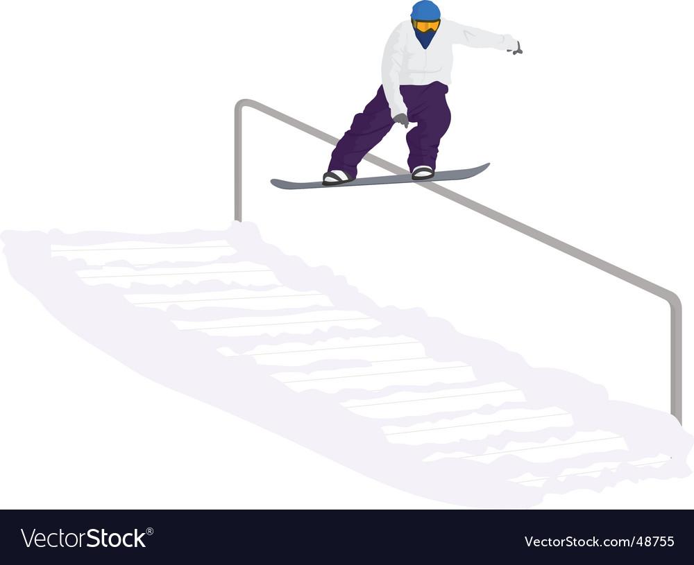 Snowboarder railslide vector | Price: 1 Credit (USD $1)