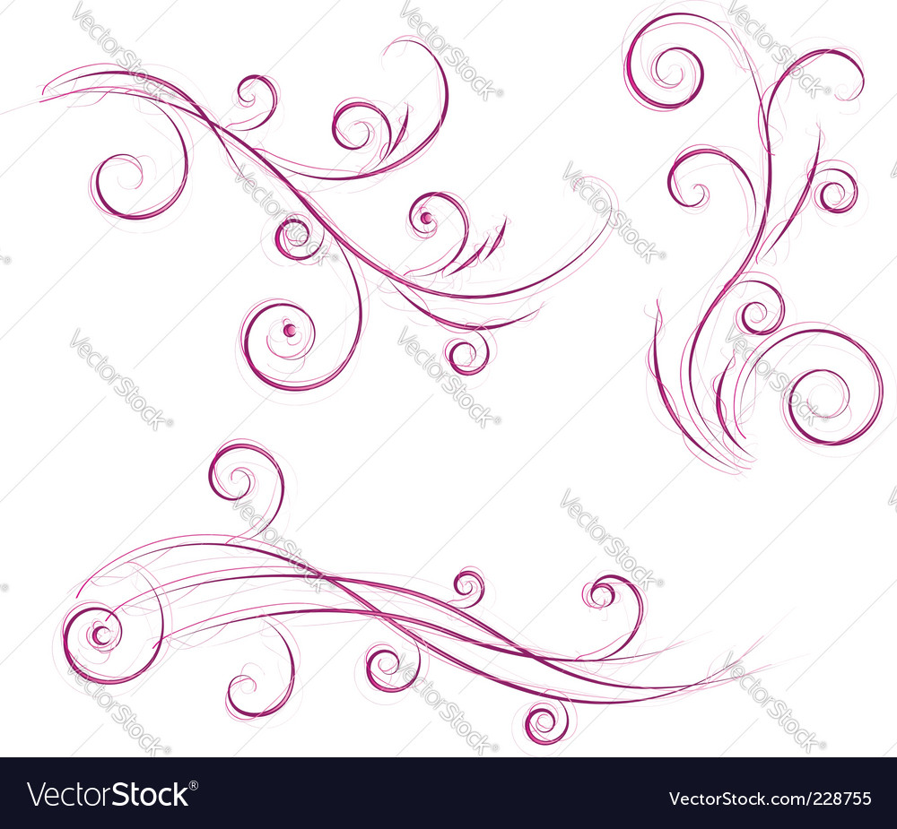 Swirls floral designs vector | Price: 1 Credit (USD $1)