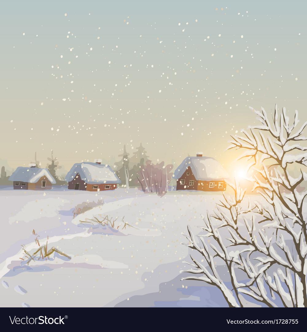 Winter landscape vector | Price: 3 Credit (USD $3)