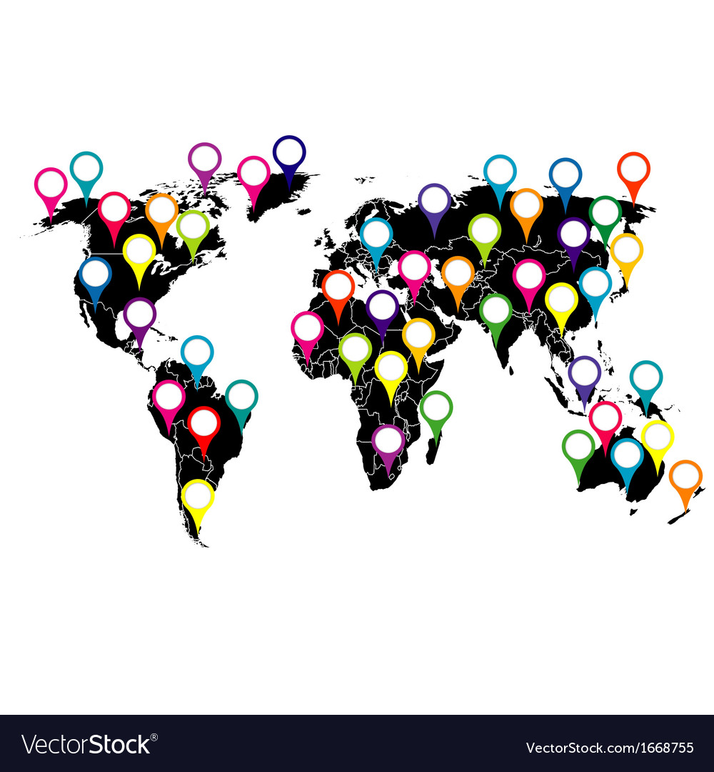 World map with colored pointers vector   Price: 1 Credit (USD $1)
