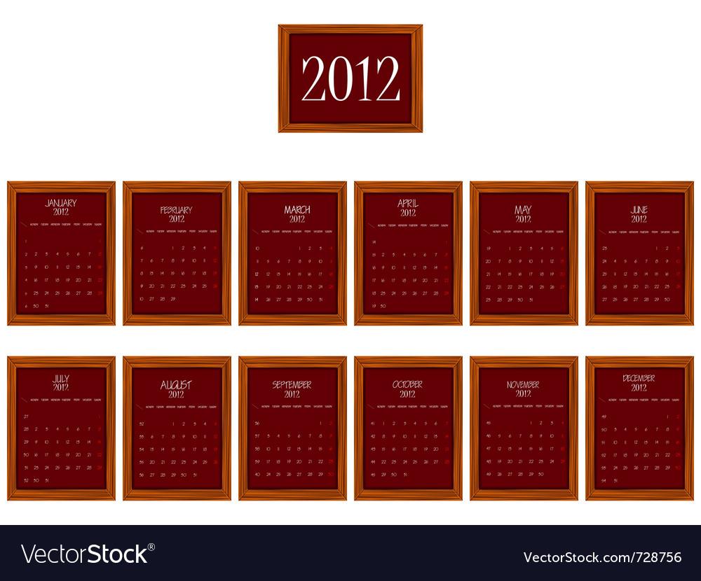 2012 frames calendar vector