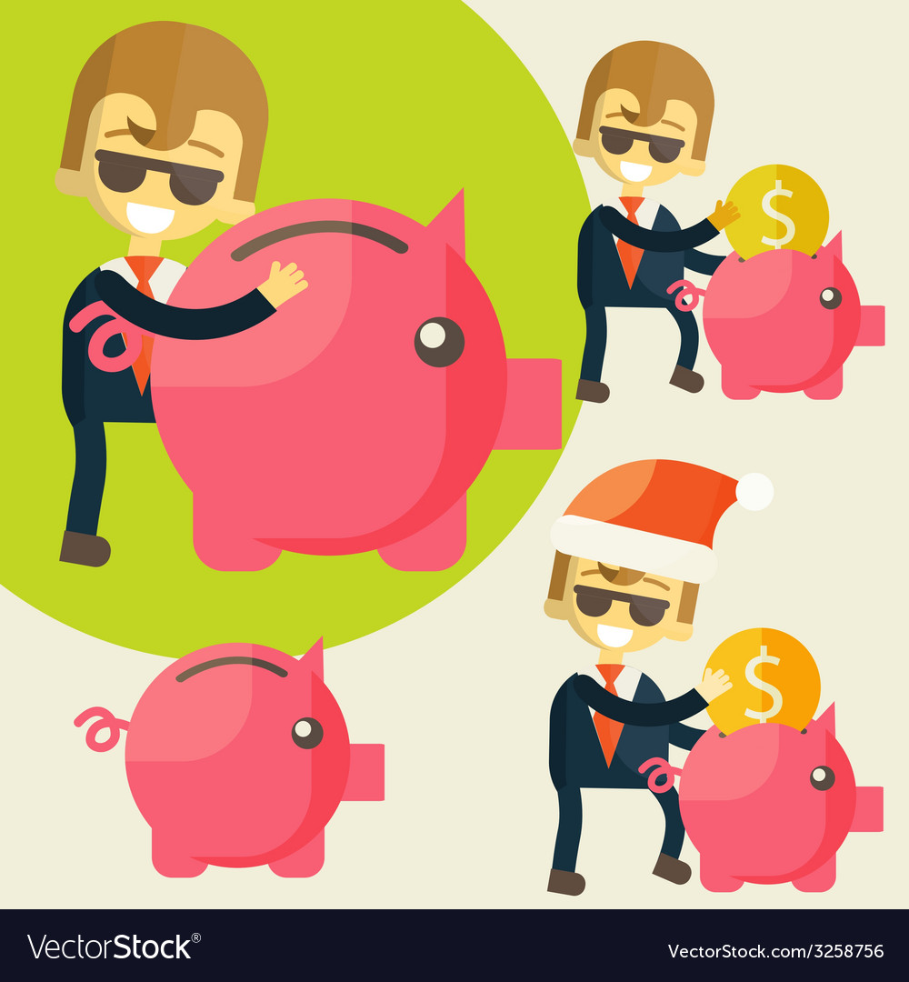 Businessman saves money in piggy bank vector | Price: 1 Credit (USD $1)