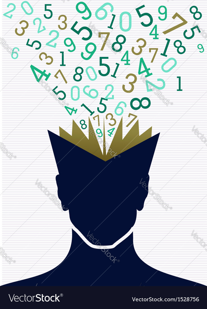 Education numbers human head book back to school vector | Price: 1 Credit (USD $1)