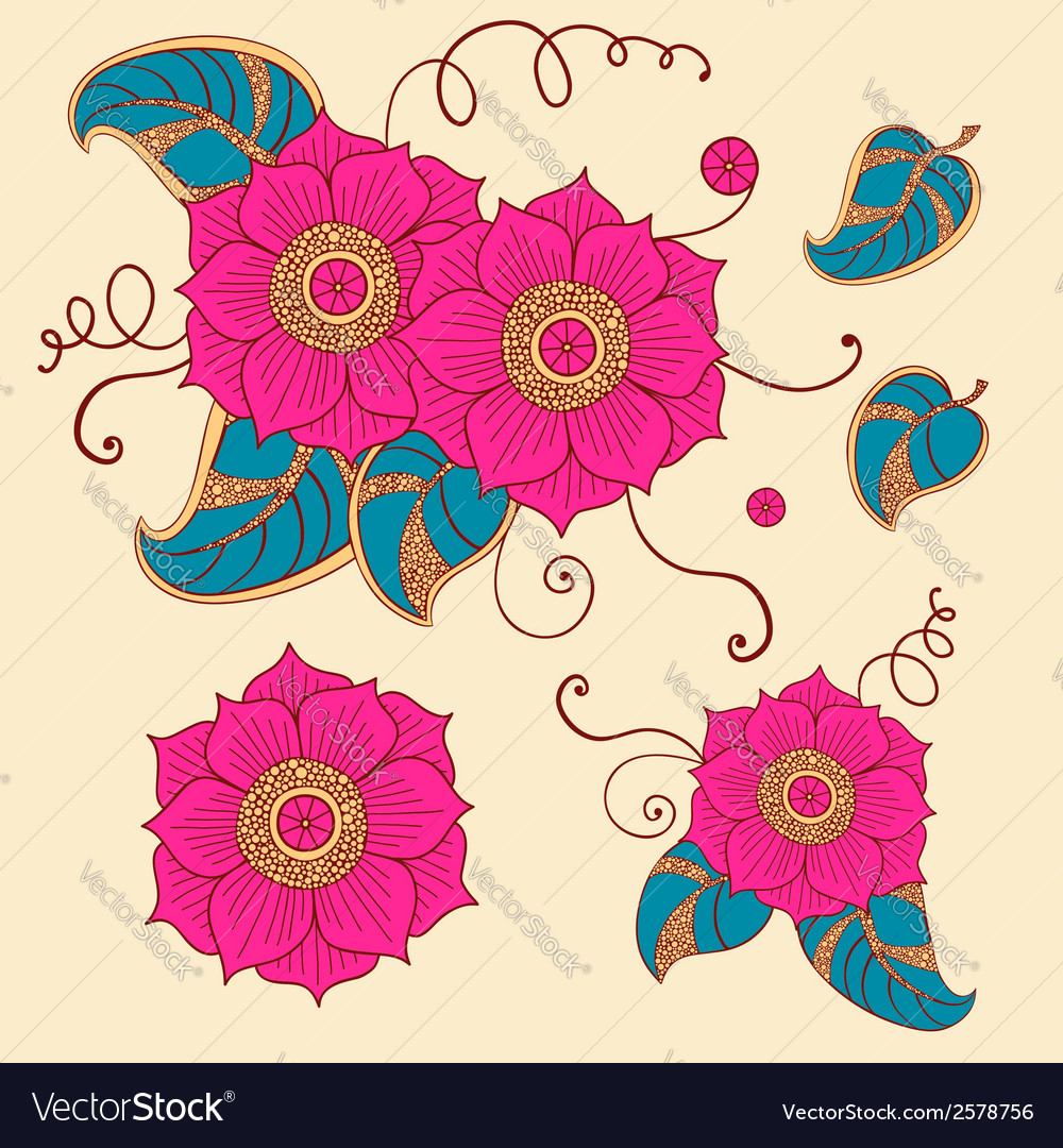 Floral set in vector | Price: 1 Credit (USD $1)