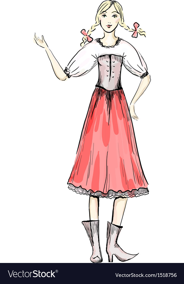 Folklore girl vector   Price: 1 Credit (USD $1)
