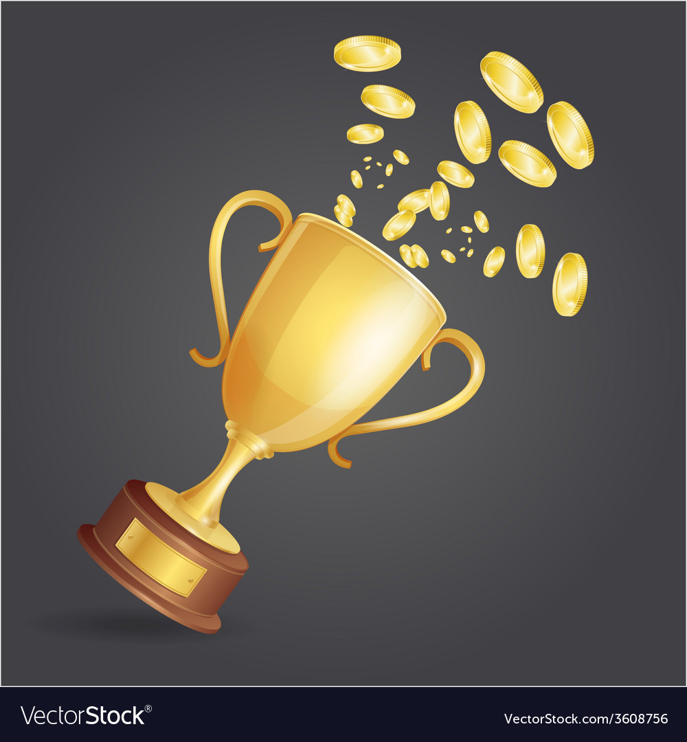 Golden winner cup and coins on dark vector | Price: 1 Credit (USD $1)