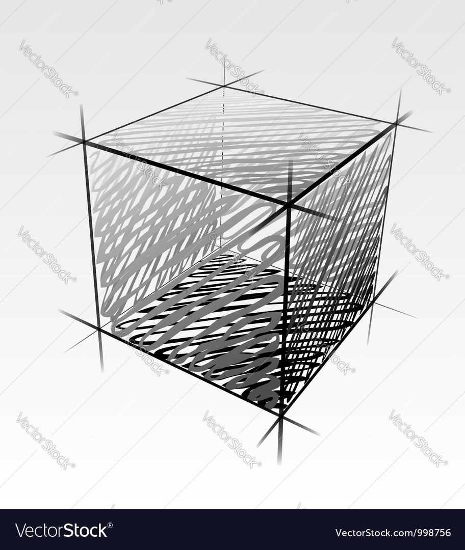 Hand drawn isolated cube vector | Price: 1 Credit (USD $1)