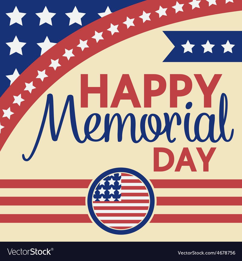 Happy memorial day greeting card vector | Price: 1 Credit (USD $1)