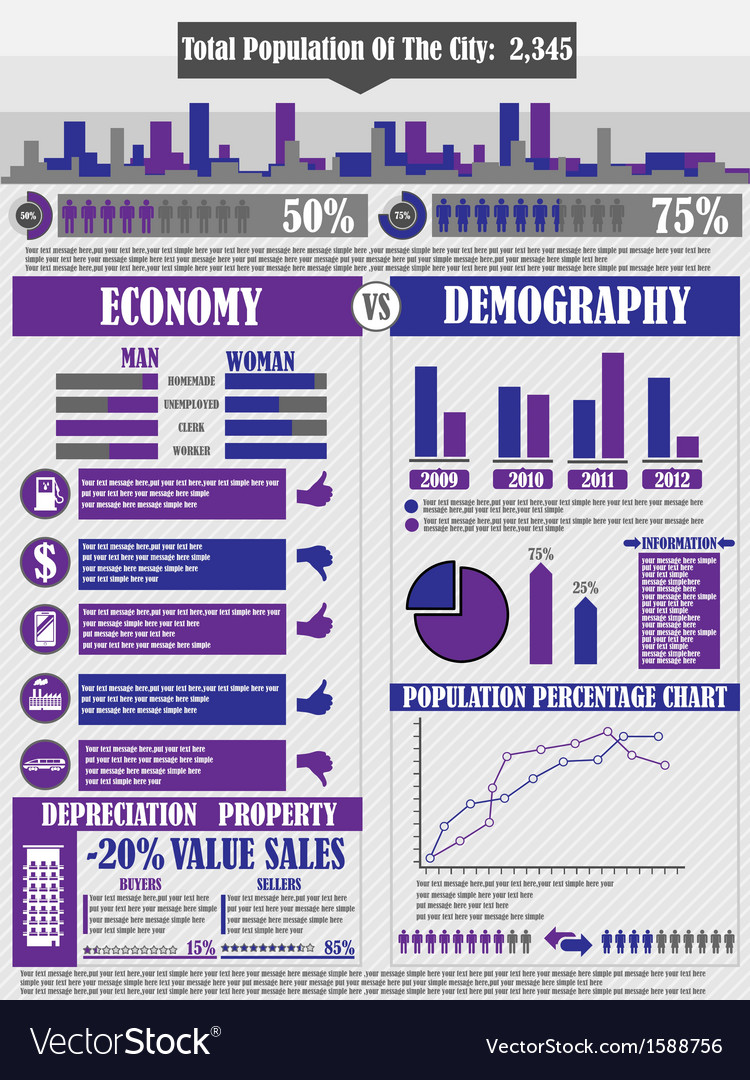 Infographics city purple vector | Price: 1 Credit (USD $1)