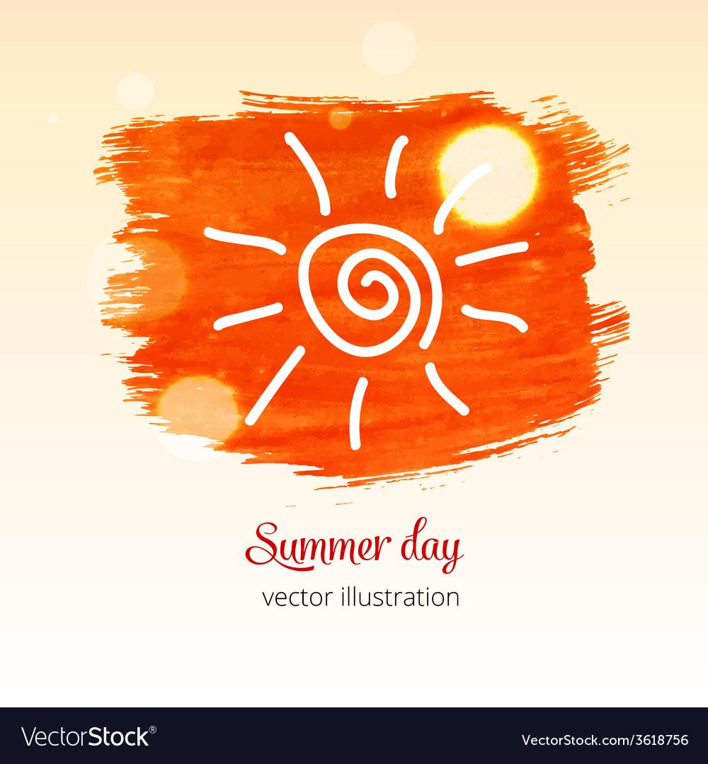 Orabge watercolor splash with picure sun vector | Price: 1 Credit (USD $1)