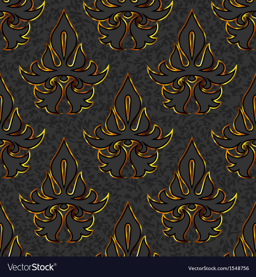 Seamless floral damask black gold background vector | Price: 1 Credit (USD $1)
