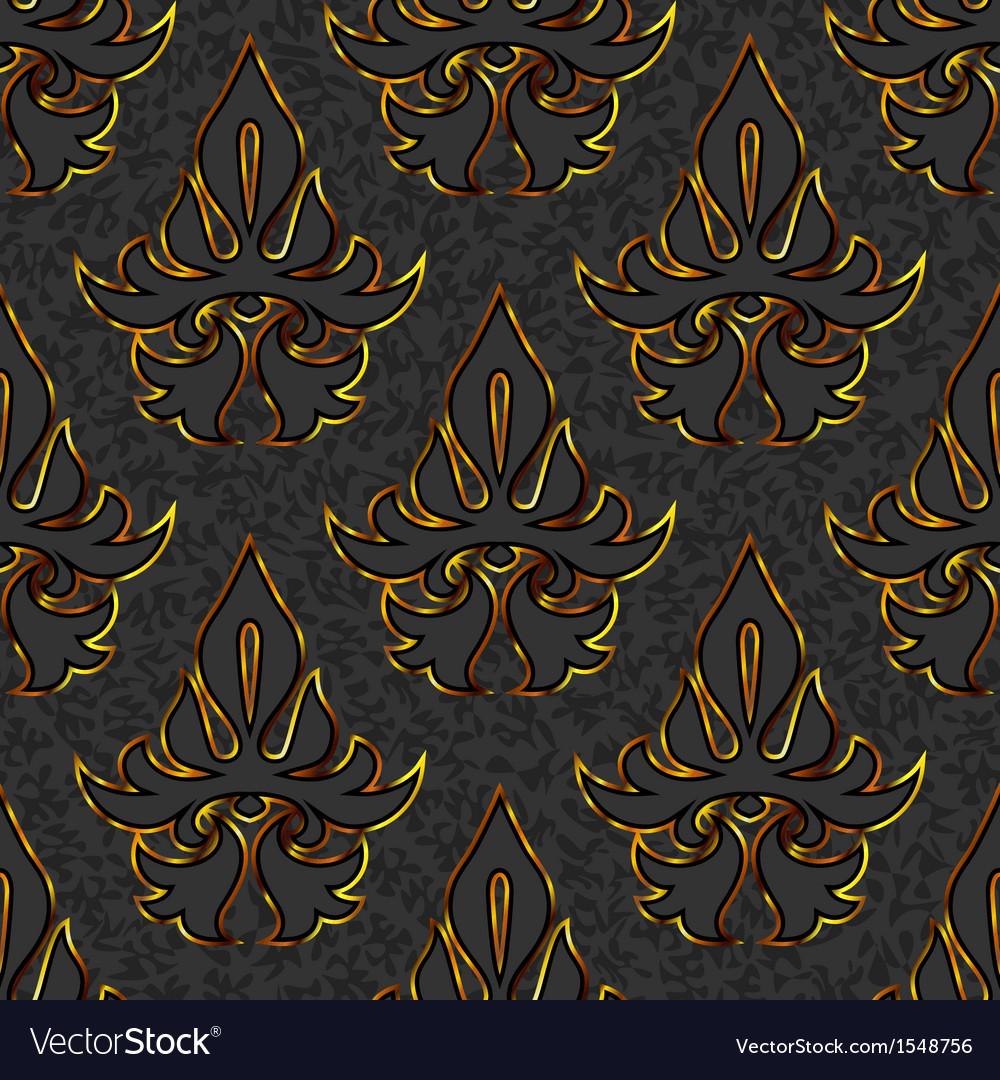 Seamless floral damask black gold background vector   Price: 1 Credit (USD $1)