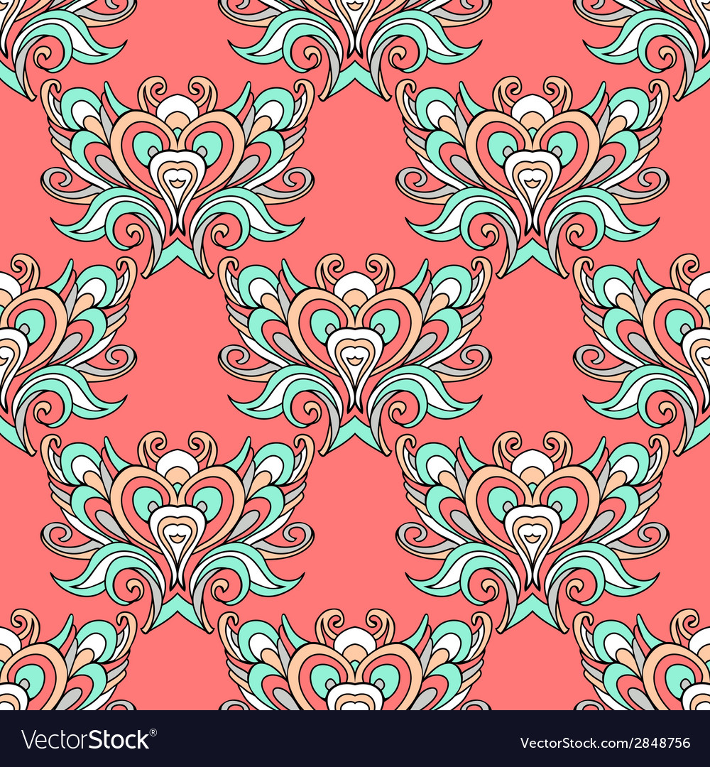 Seamless pink vintage pattern damask vector | Price: 1 Credit (USD $1)