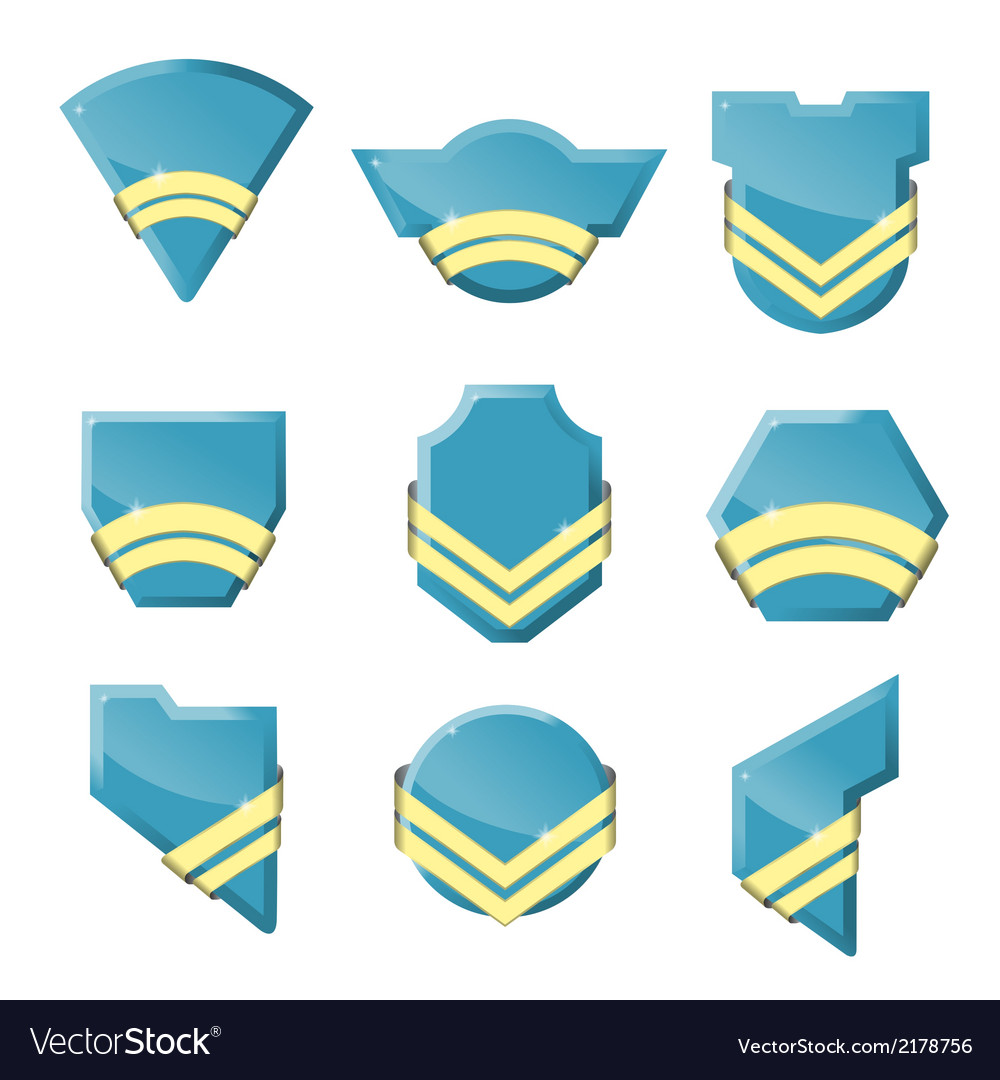 Set of badges with gold ribbons vector | Price: 1 Credit (USD $1)