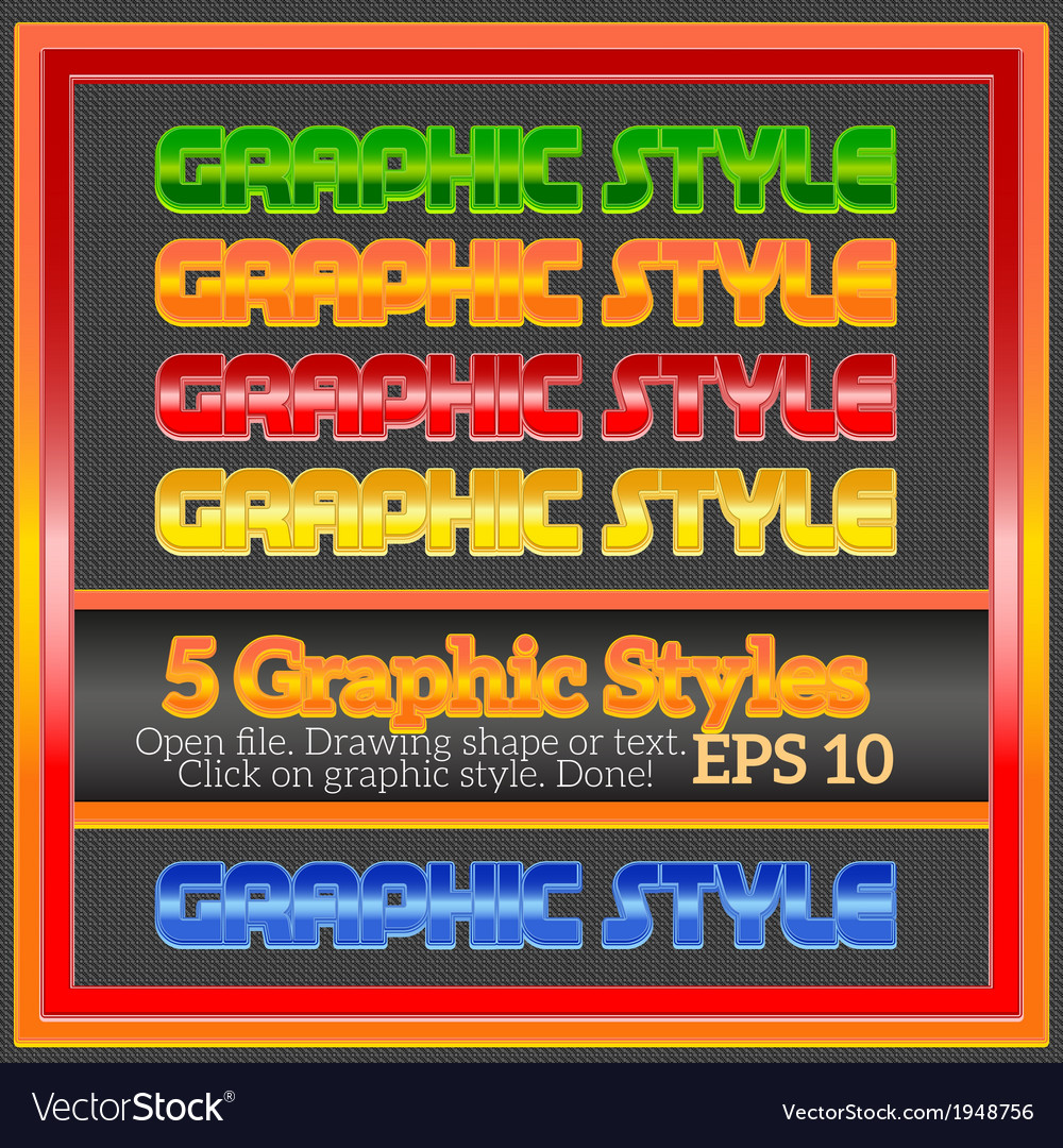 Set of beautiful bright colorful graphic styles vector | Price: 1 Credit (USD $1)