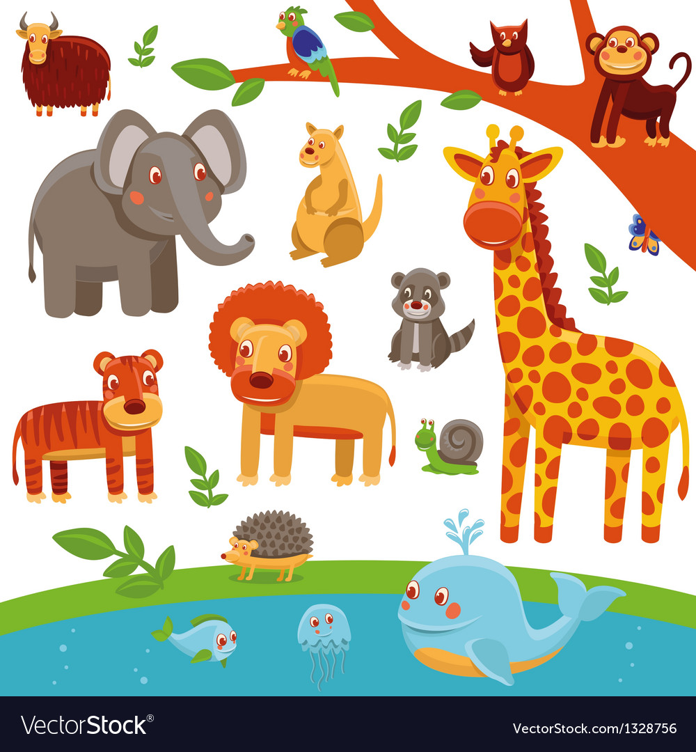 Set of cartoon animals - funny and cute vector | Price: 3 Credit (USD $3)