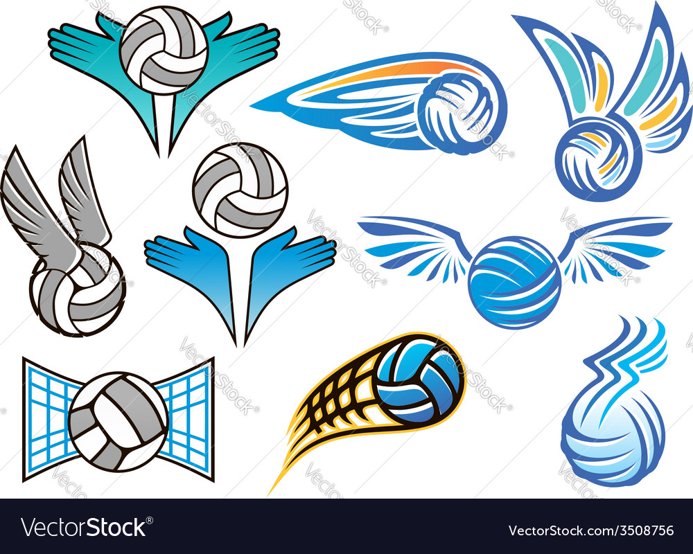 Volleyball ball emblems collection vector | Price: 1 Credit (USD $1)