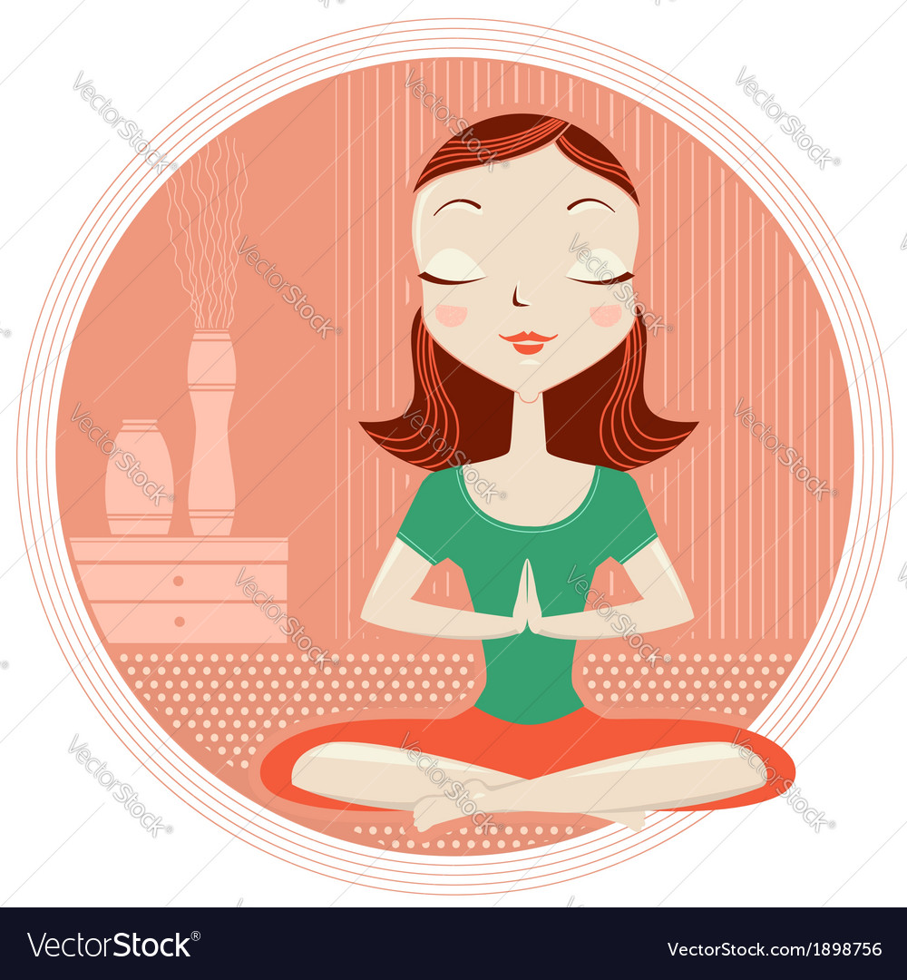 Yoga woman in lotus poses vector | Price: 1 Credit (USD $1)