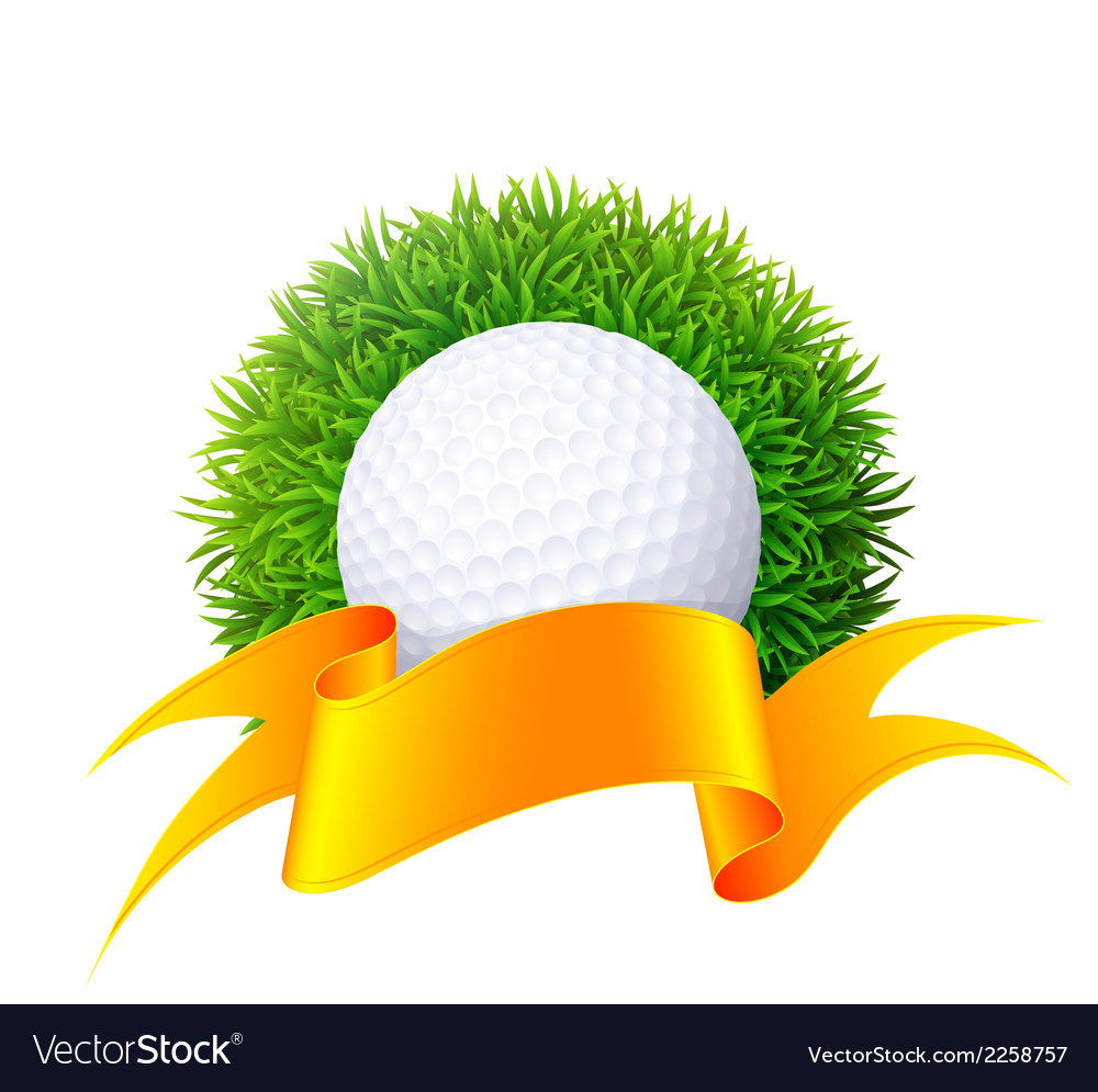 Ball for golf on green grass with gold ribbon isol vector | Price: 1 Credit (USD $1)