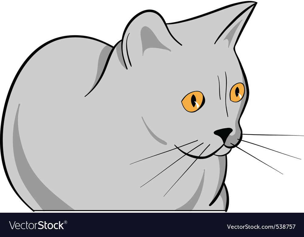 Cartoon grey cat isolated on the white vector | Price: 1 Credit (USD $1)