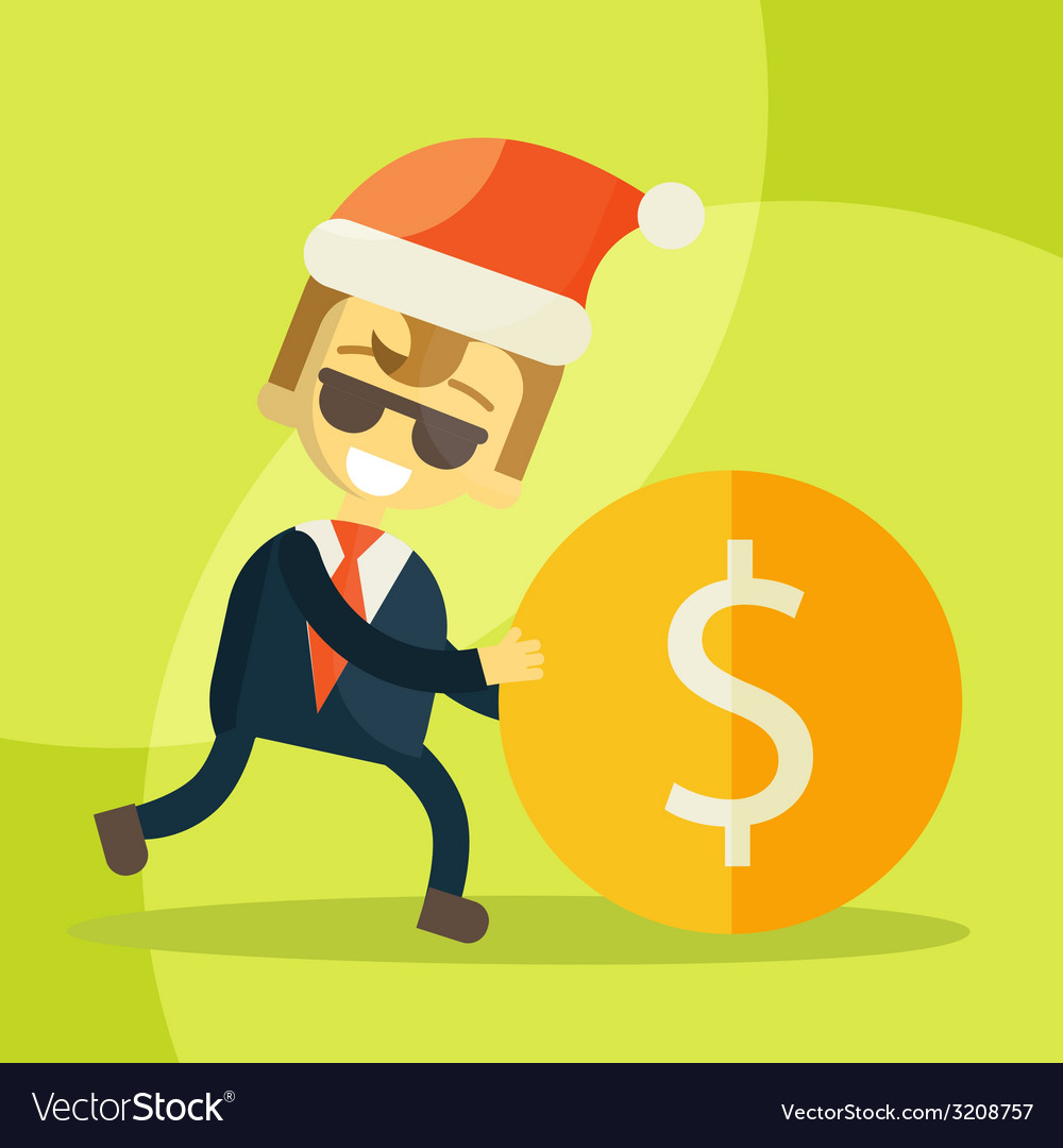 Cheerful businessman rolls coin christmas vector | Price: 1 Credit (USD $1)