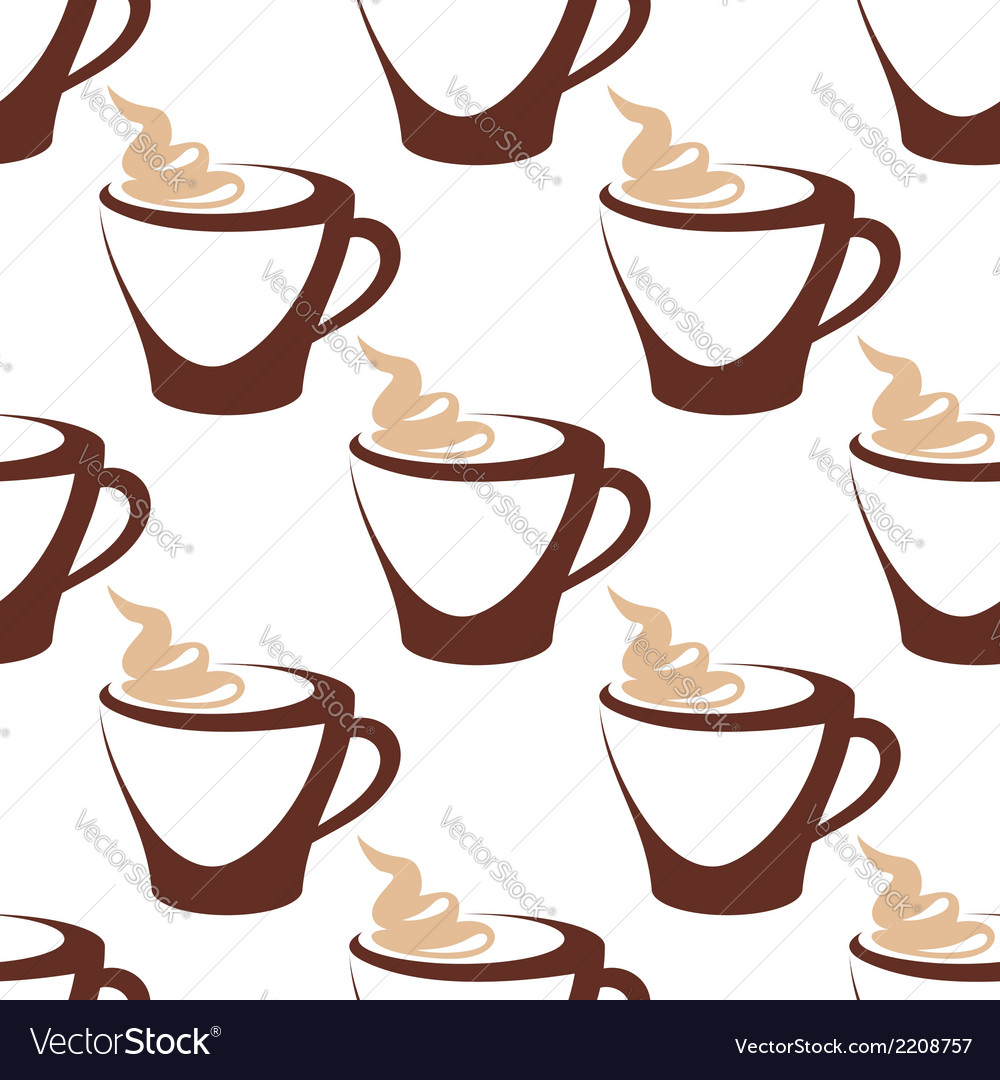Coffee cup with cream seamless pattern vector | Price: 1 Credit (USD $1)