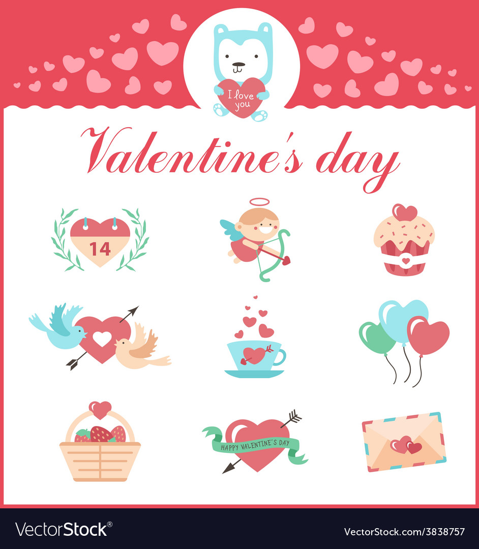 Cute set of icons for valentines day wedding vector   Price: 1 Credit (USD $1)