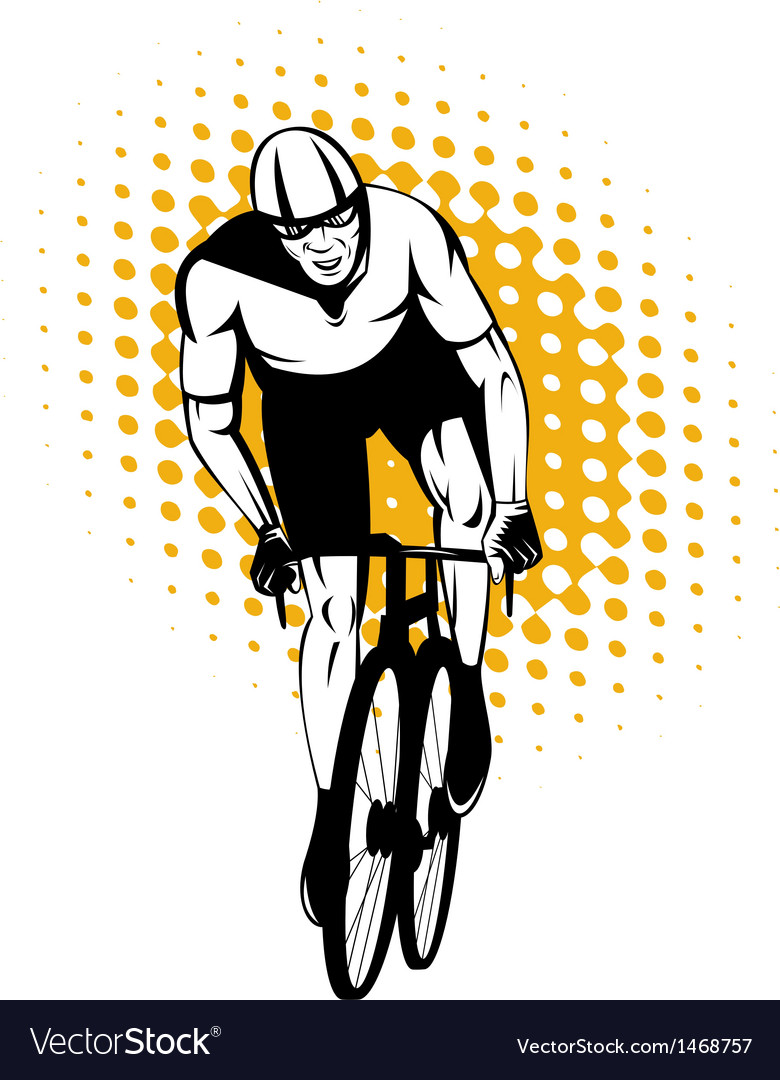 Cyclist riding bicycle front view vector | Price: 1 Credit (USD $1)