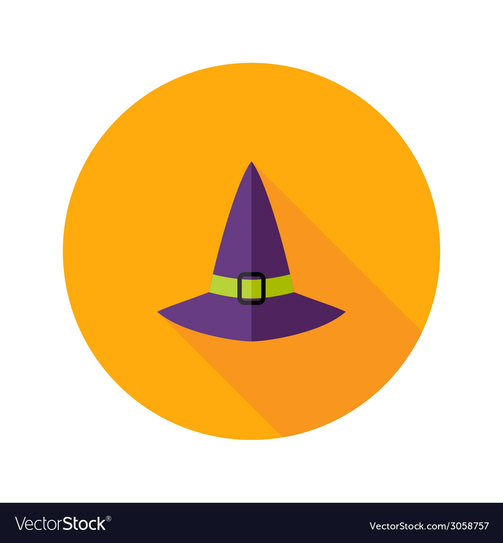 Halloween witch hat flat icon vector | Price: 1 Credit (USD $1)